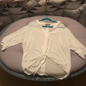 Brandy Melville white front tie blouse